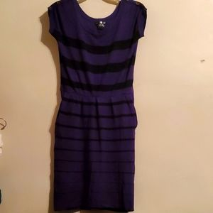 Purple and black striped dress